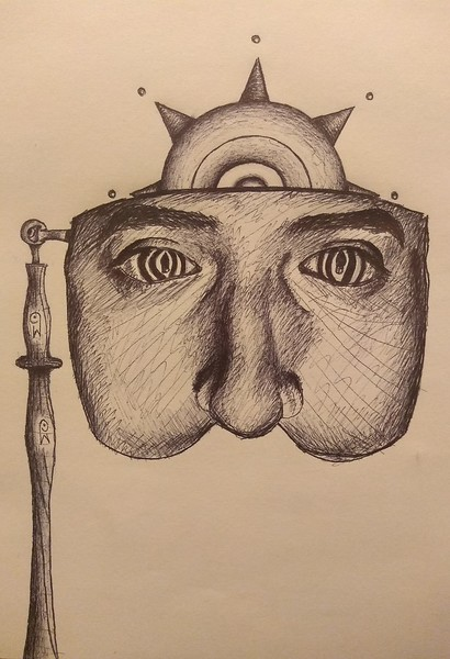 """Self Introduction"" (ink pen) by Andy Monjaras"
