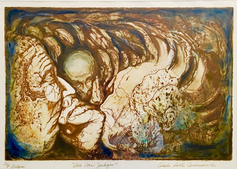 """ALL ARE JUDGES""  (colored etching) by Adele Soll Aronson"