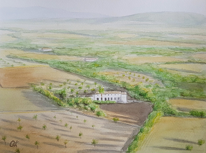 """The house and area"" (watercolor) by Olha Krasko"