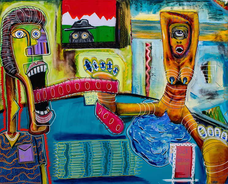 """""""Foot Fetish"""" (acrylic and oil on canvas) by Jessie Kwasney"""
