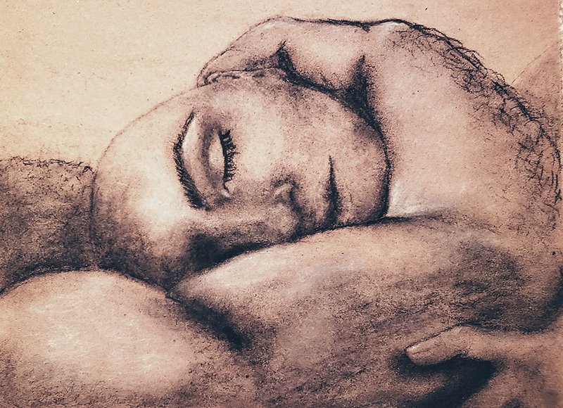 """""""If I Lay Here"""" (charcoal on paper) by Maiya M Lonesome"""