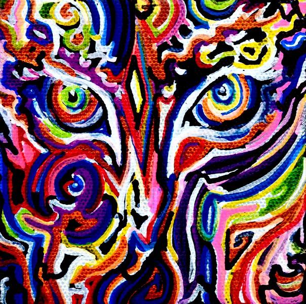 """""""Tiger eyes"""" (oil and acrylic on canvas) by Oceanna Hain"""