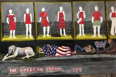 """THE AMERICAN DREAM...ERS"" (acrylic on canvas) by Adele Soll Aronson"