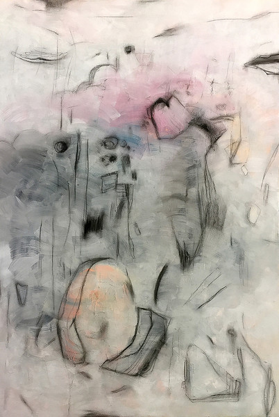 """Floating Dreams"" (Charcoal, Acrylic, Gesso on canvas) by Kieun Kim"