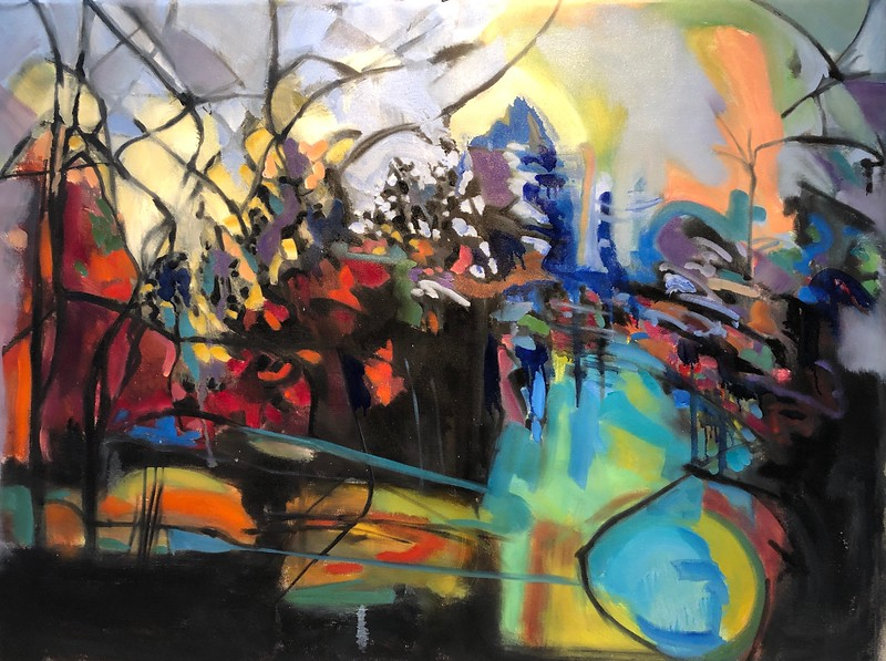 """A Color Gathering Before the Fog"" (oil, acrylic, charcoal on canvas) by Hartini Gibson"