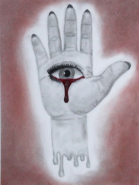 """Red Tears"" (charcoal,pastel, paint, and hot glue) by Karin Katz"