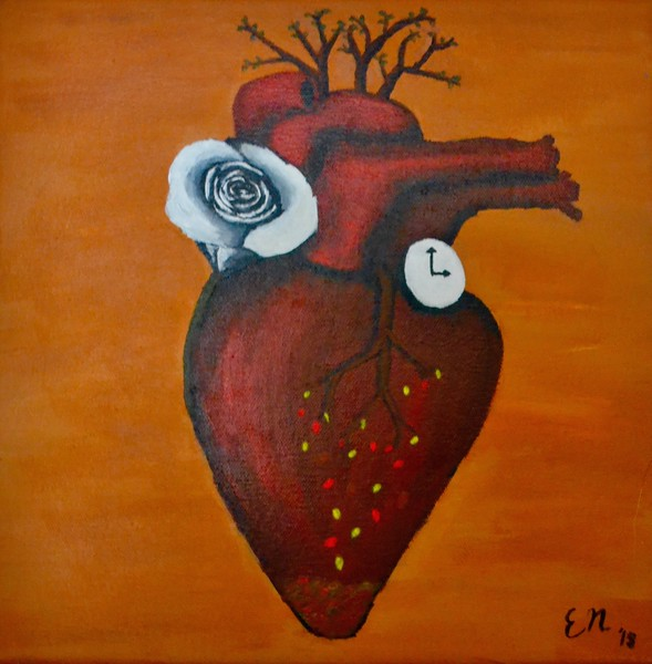 """Beating Heart"" (acrylic on canvas) by Elizabeth Narouz"