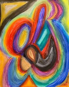 """""""Cradling Her Cradling Us"""" (pastel) by Aarathi Haig"""