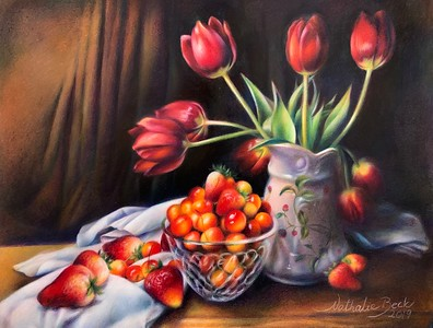 """""""Berries and Tulips"""" (colored pencil) by Nathalie Beck"""