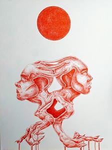 """""""Under The Red Sun"""" (pen) by Moira Hyatt"""