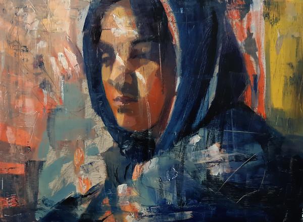 """Push"" (oil on wood) by Kaitlin Stevens"
