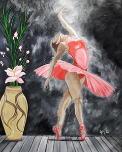 """""""Dancing light on her"""" (oil on canvas) by Adriana Calichio"""