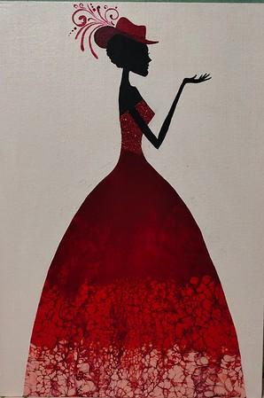 """""""Red Lady"""" (acrylic) by Akhila Jangamshetti"""