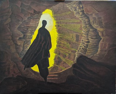 """""""Man Cave - Journey of hidden guidance and conspicuous luck"""" (oil on canvas) by Shivet Pande"""