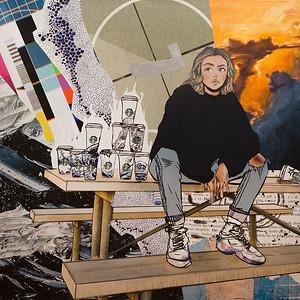"""what's in my head?"" (mixed media: photo, oil, markers, acrylic) by Mari Boro"