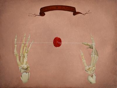 """Bones and Plastic"" (oil on wooden panel) by Yulia Grushevaya"