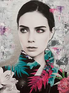 """""""Inside"""" (mixed media: photo, oil, markers, acrylic) by Mari Boro"""