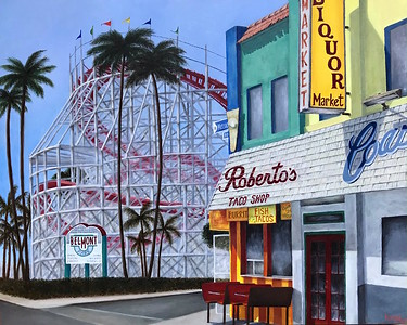 """Mission Beach, San Diego"" (oil on canvas) by Kasey Passaic"