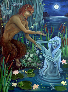 """""""Nymph & Satyr"""" (oil on canvas) by Lana Azore"""