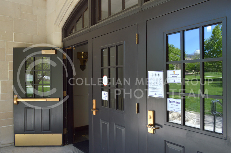 The doors of Willard Hall stand open on Tuesday, May 4. The building has been open to students throughout the Spring 2021 semester. (Emma Witter   Collegian Media Group)