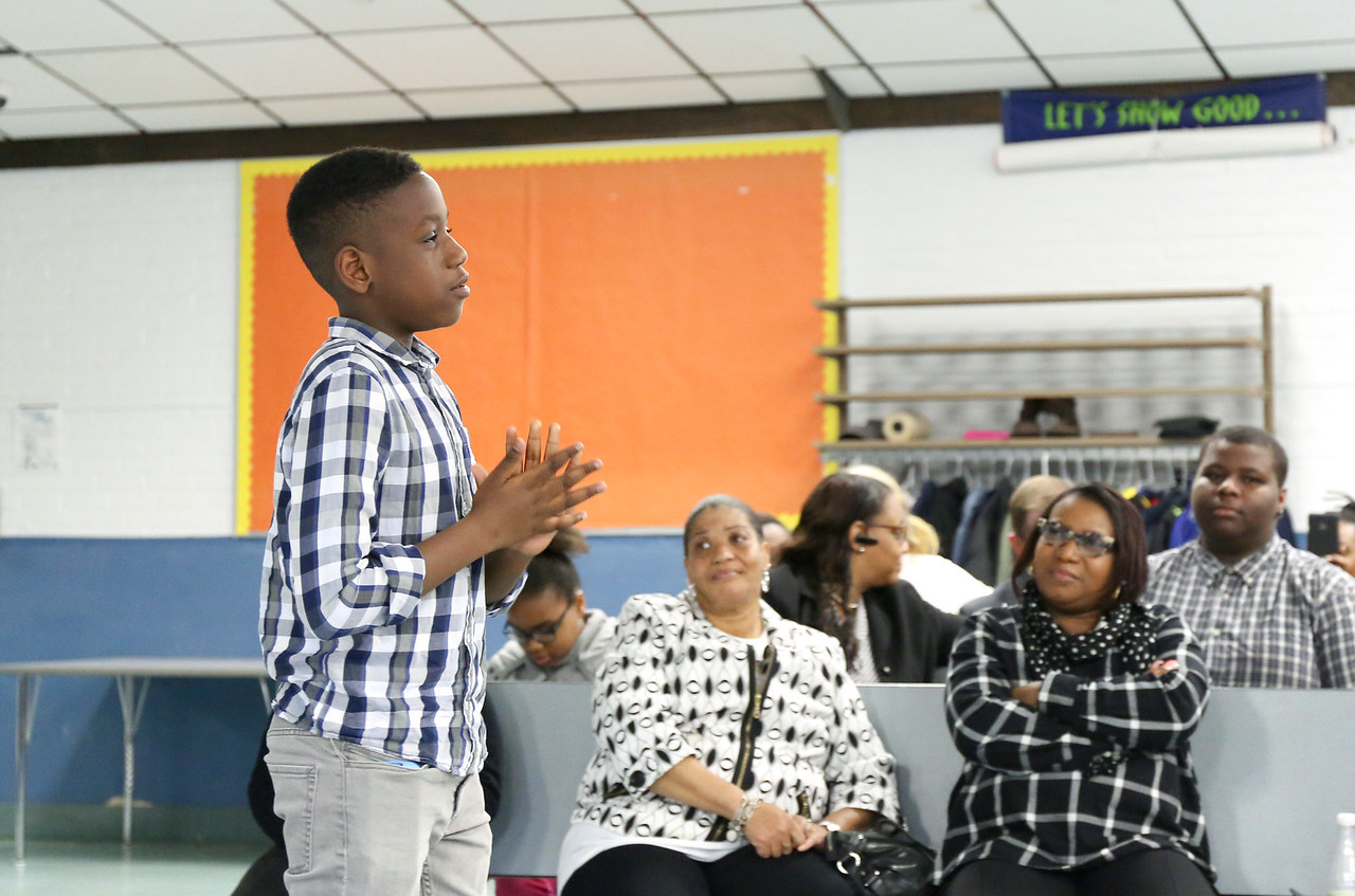 Fifth grader Khalil Thomas speaks to the Board of Education Tuesday evening. <br /> Photo by John Fitts
