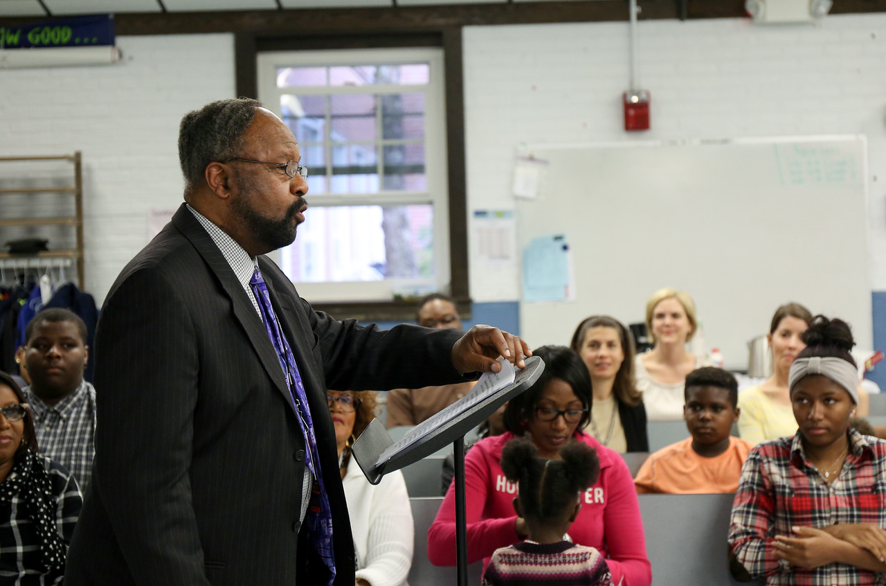 Open Choice coordinator Floyd Campbell speaks to the Board of Education Tuesday. <br /> Photo by John Fitts