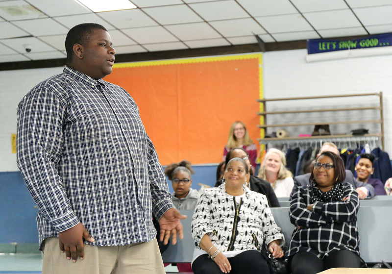 Senior Damon Kates speaks to the Board of Education. <br /> Photo by John FItts