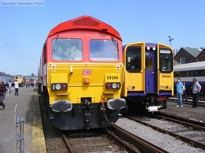 A DB Schenker 59 and a former Silverlink Metro 508