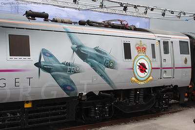 The livery on the class 91 showing the Spitfire and Hurricane