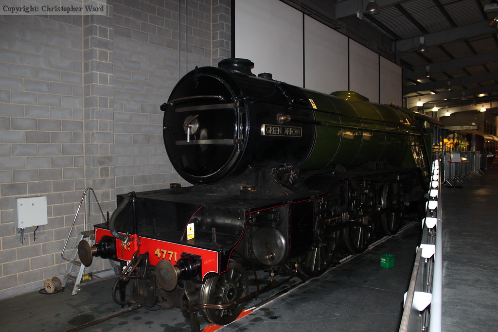 In the absence of 'Scotsman, Green Arrow occupies the Flying Scotsman exhibit bay