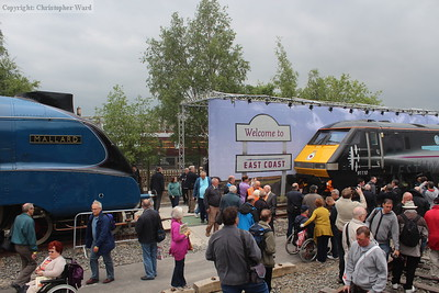 The fastest steam locomotive in the world and the fastest locomotive in Britain face up to each other