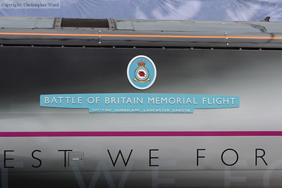 The Battle of Britain class style nameplate and badge on the locomotive