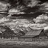 The T.A. Moulton Barn and clouds at Grand Teton National Park in Wyoming.