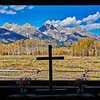 Grand Teton National Park during fall foliage in Moose, Wyoming, at Chapel of the Transfiguration.