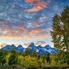 Fall sunset at Grand Teton National Park in Wyoming