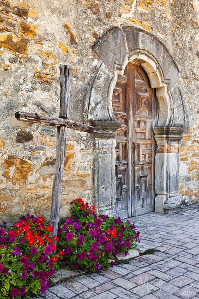 """Cross at Mission Espada"" - a Spanish Mission in San Antonio, Texas."