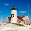 Nobska Lighthouse in Falmouth, Massachusetts on Cape Cod features a holiday wreath in the winter of 2003. The light is operated by Coast Guard Woods Hole, in Cape Cod, Massachusetts