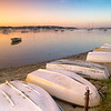 Sunrise at the town landing at West Bay in Osterville on Cape Cod, Massachusetts in August.