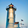 Nobska Lighthouse (Nobska Point Light), in Falmouth, Massachusetts on Cape Cod at dusk. The light is operated by Coast Guard Woods Hole, in Cape Cod, Massachusetts
