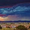 Lightning storm at sunset as seen from Santa Fe Skies RV Park in Santa Fe, New Mexico