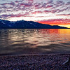 Sunset over Jackson Lake near Colter Bay in Grand Teton National Park, Wyoming