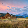 The T.A. Moulton Barn at sunrise in the fall at Grand Teton National Park, Wyoming