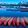 Colter Bay Marina at Blue Hour before sunrise in Grand Teton National Park, Wyoming