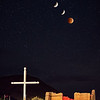 Lunar eclipse blood moon starting at 3am in Abiquiu, New Mexico at La Santa Rosa de Lima - an old adobe church built in 1734 by Espanoles.