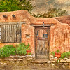 """""""Old Santa Fe Door"""" was photographed in Santa Fe, New Mexico. I added a photo texture and blended it in to the sky so that it would match the texture in the adobe walls."""