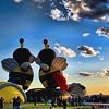 Two hot air balloon Bees kiss at the Albuquerque Balloon Festival in New Mexico.