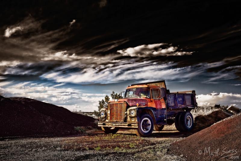 An old dump truck in Santa Fe, New Mexico