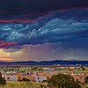 Lightning storm at sunset as seen from Santa Fe Skies RV Park in Santa Fe, New Mexico