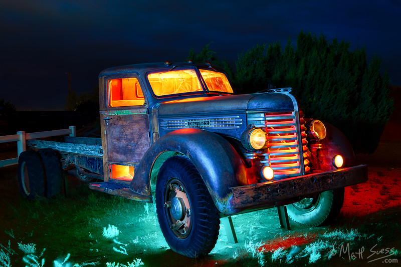 Light painting at night an old Diamond T pickup truck in Santa Fe, New Mexico.