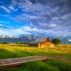Sunrise at T.A. Moulton Barn at Mormon Row at Grand Teton National Park, Wyoming.
